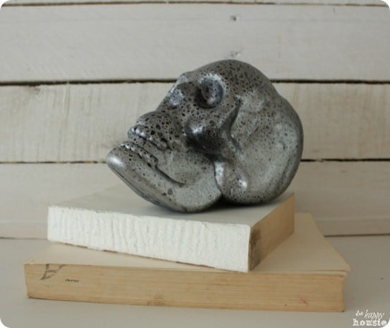 Pottery Barn Inspired Mercury Glass Skull DIY Halloween Decor
