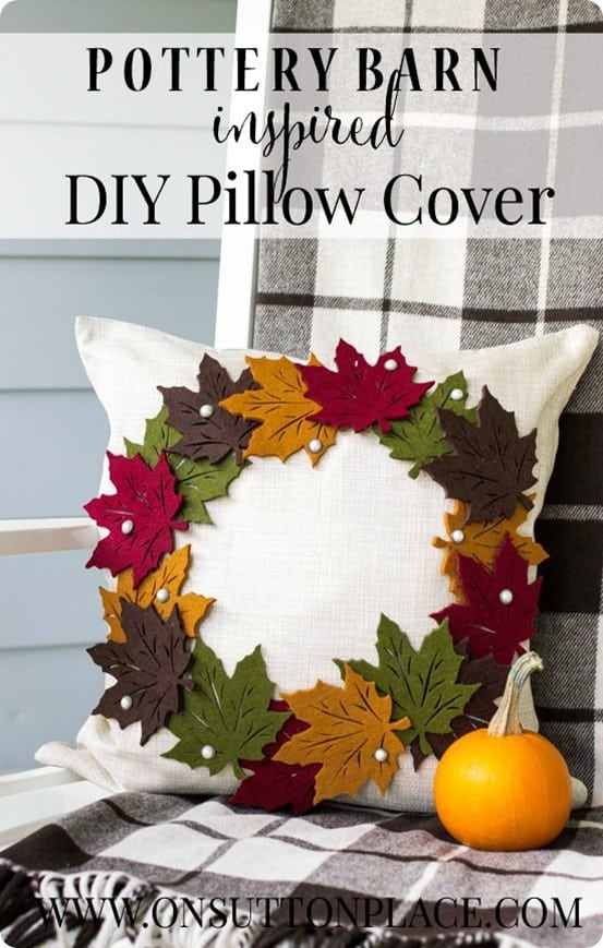 Pottery Barn Knock Off Fall Leaf Wreath Pillow