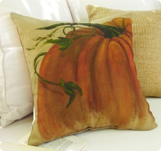 Pottery Barn painted pumpkin outdoor pillow