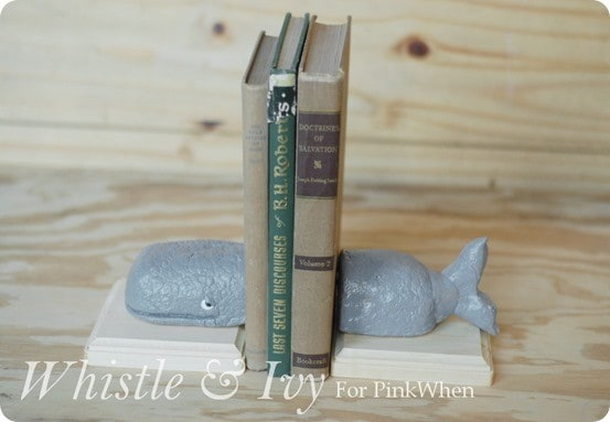 anthropologie inspired whale bookends
