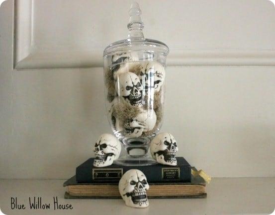 halloween skull vase filler in apothecary jar