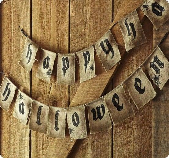 Happy Halloween Burlap Banner - Happy Halloween Decorations