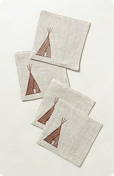 linen teepee coasters from Anthropologie
