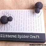 pottery barn inspired glittered spiders