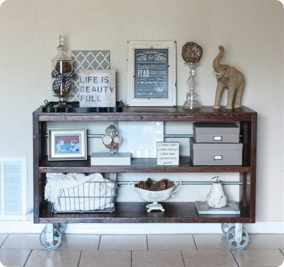restoration hardware inspired wood and steel console table