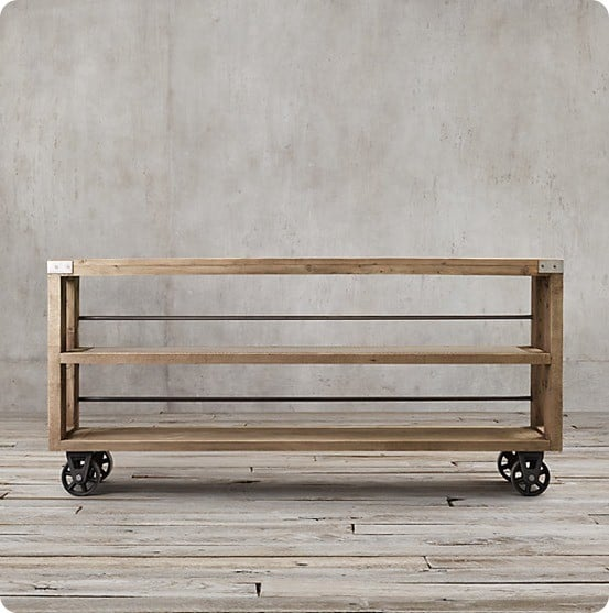 wood and steel console table with wheels