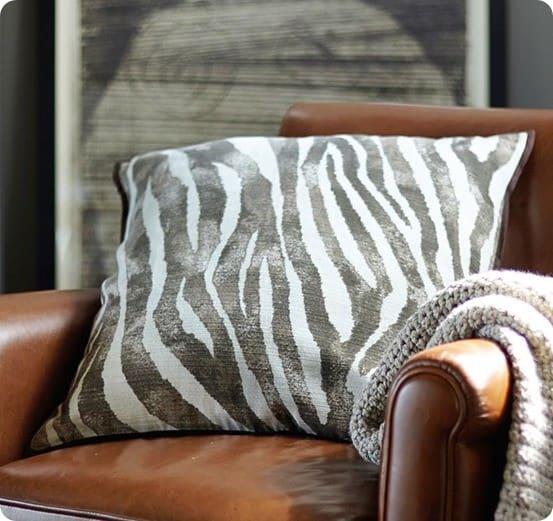zebra printed pillow cover