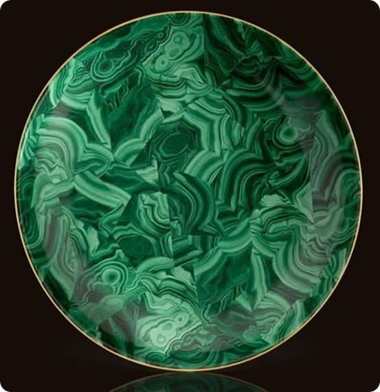 L'Objet Round Malachite Platter