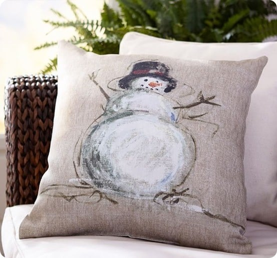 Painted Snowman Indoor Outdoor Pillow