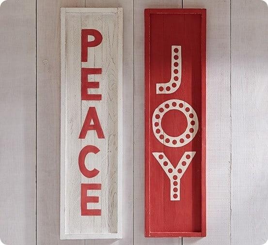 Peace & Joy Wooden Plaques
