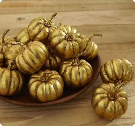 Pottery Barn gold pumpkin vase filler