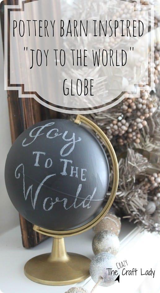Pottery Barn inspired Joy to the World globe