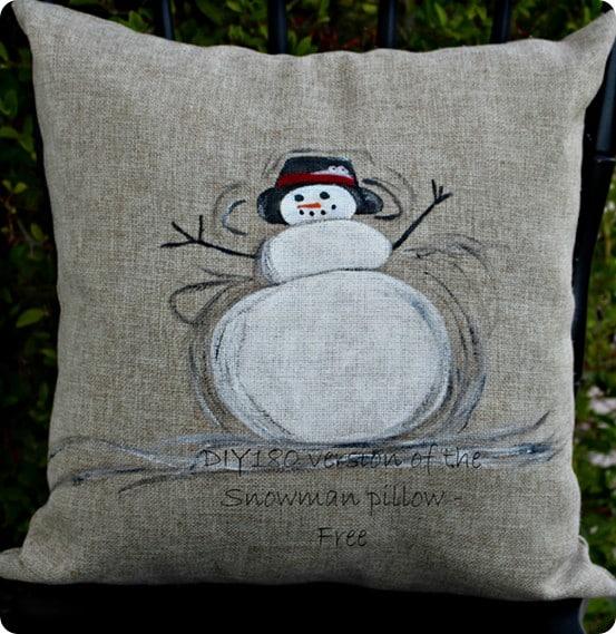 Pottery Barn inspired snowman pillow