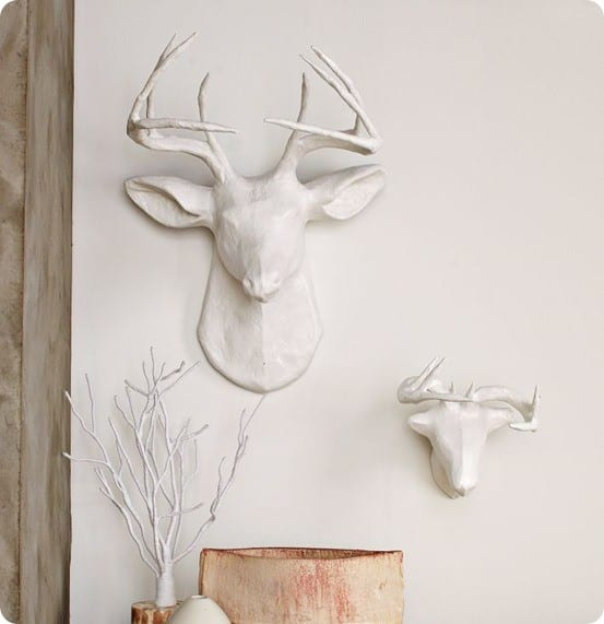 papier mache white deer