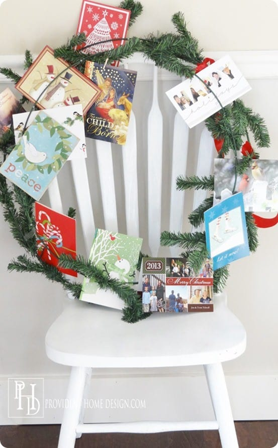 Creative and Functional Christmas Card Display Wreath