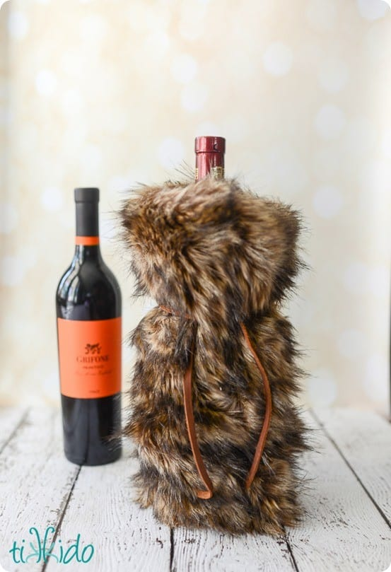 Faux Fur Wine Bag Gift