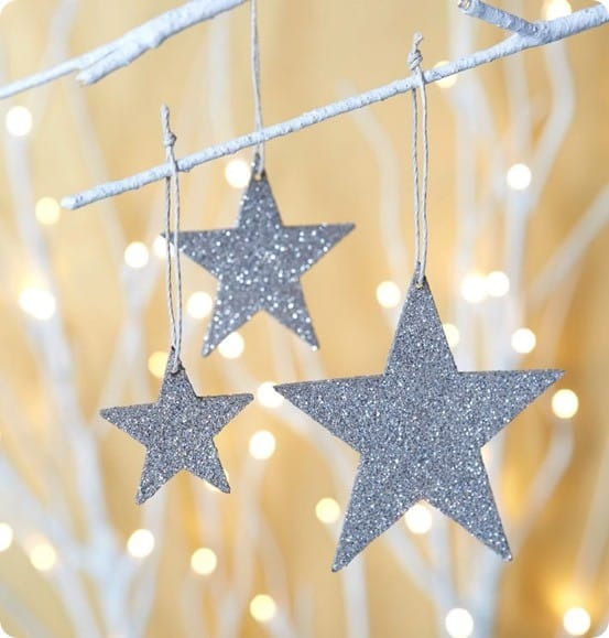 Glitter kraft star ornaments west elm