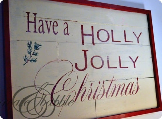 Pottery Barn inspired holly jolly christmas sign