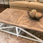 Trestle Style Coffee Table with Parquet Top