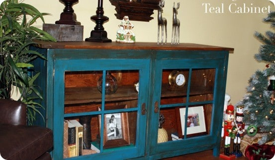 aged teal cabinet