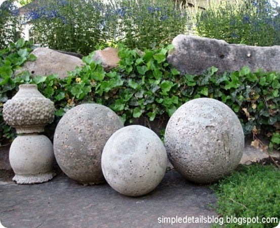 classic concrete garden spheres