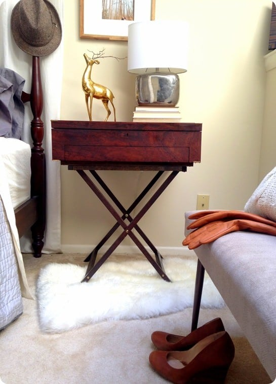 diy campaign table from tv tray