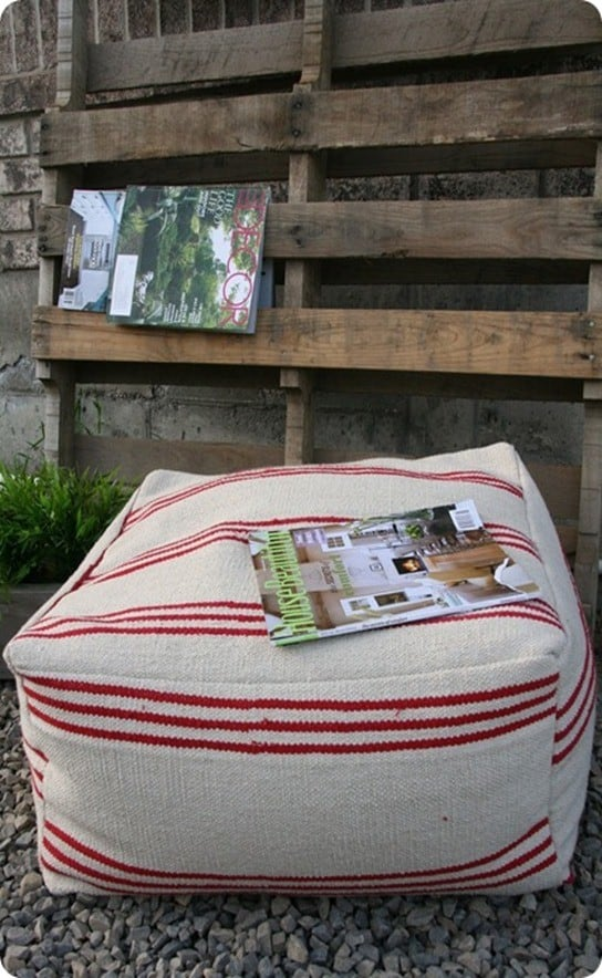 diy floor pouf from ikea rugs