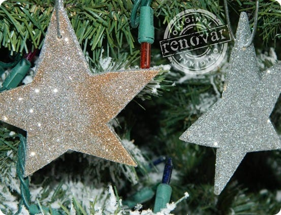 glitter star christmas ornaments inspired by west elm