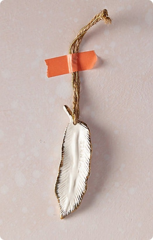 gold flecked feather ornament