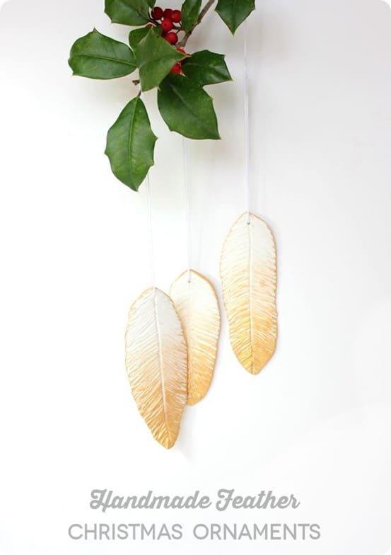handmade clay feather Christmas ornaments