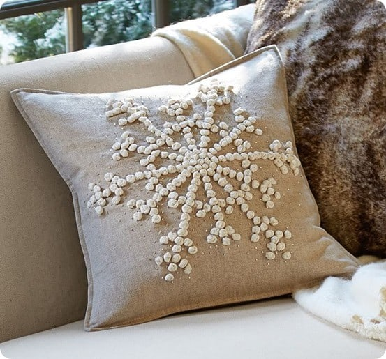 knotted snowflake embroidered pillow covers