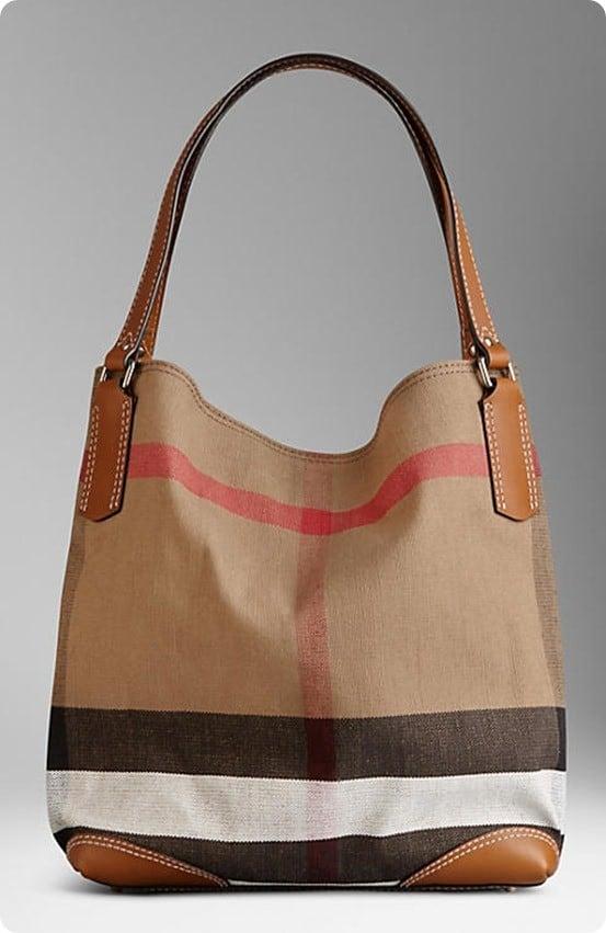 medium canvas check tote bag