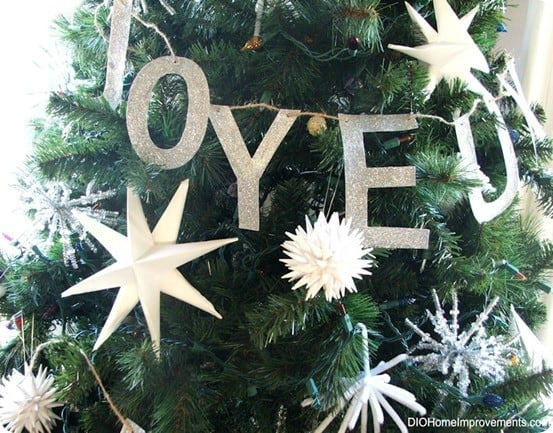 pottery barn inspired glitter letter ornaments