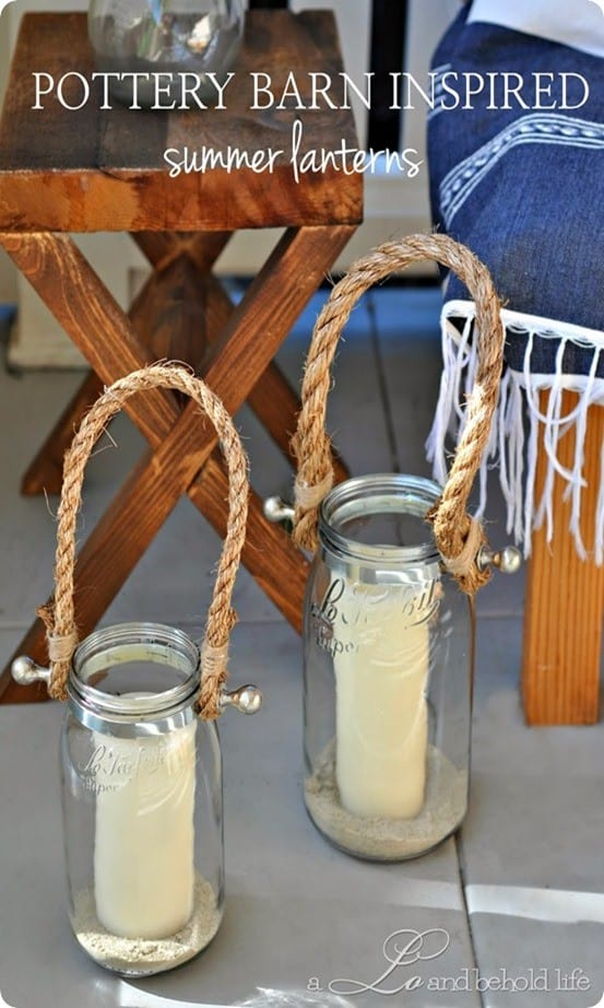 pottery barn inspired rope lanterns