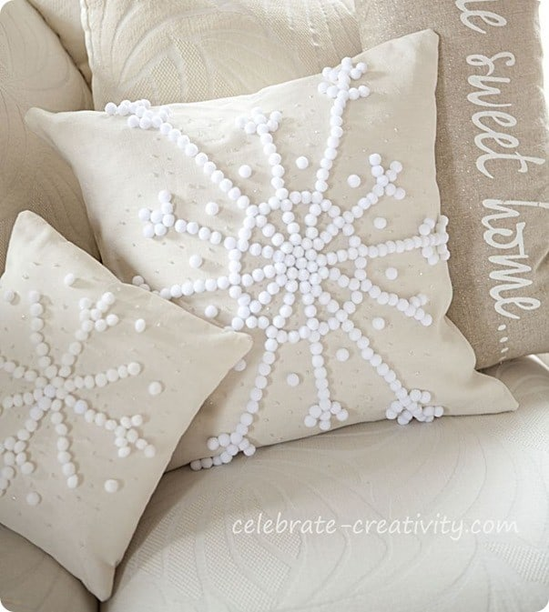 pottery barn inspired snowflake pillows
