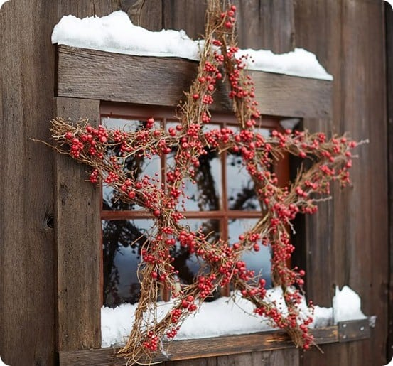 pottery barn red star wreath