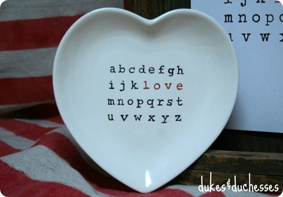 Pottery Barn valentine heart plate