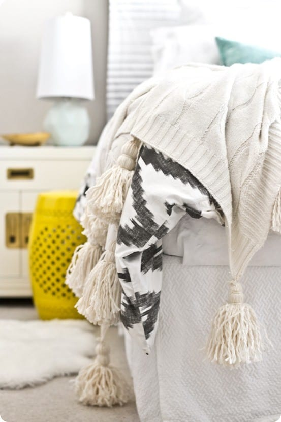 anthropologie inspired tassel throw