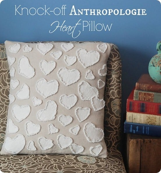 anthropologie knock off frayed heart pillow