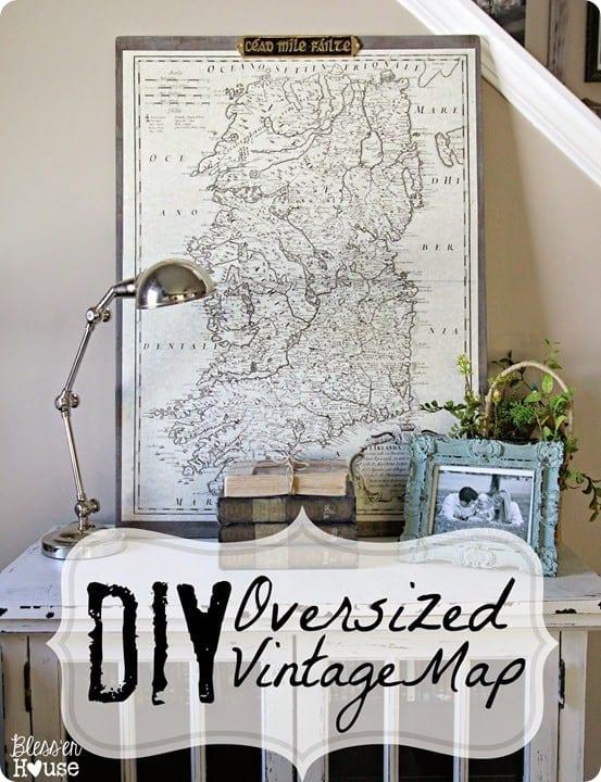 diy oversized vintage map