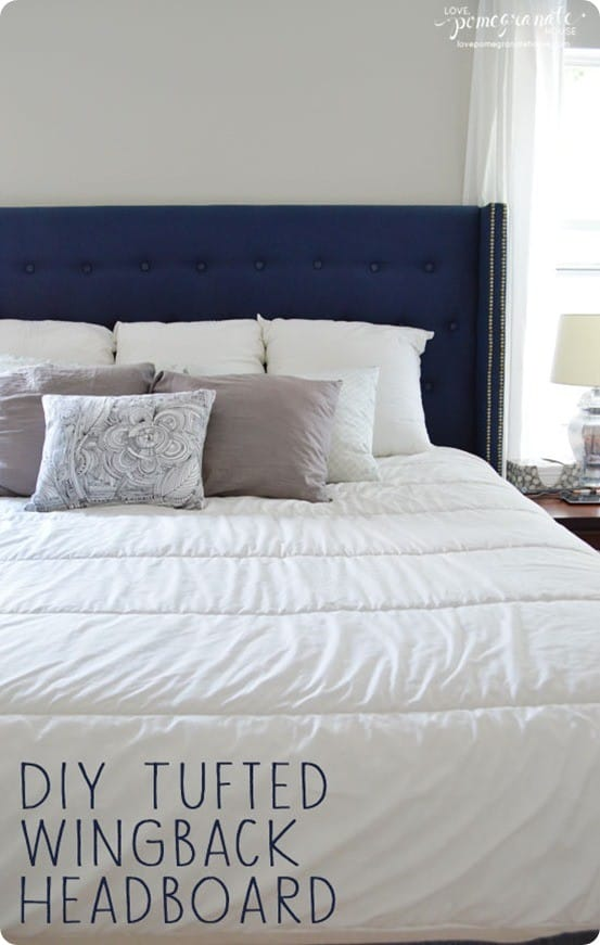 Blue Upholstered Bed Decor