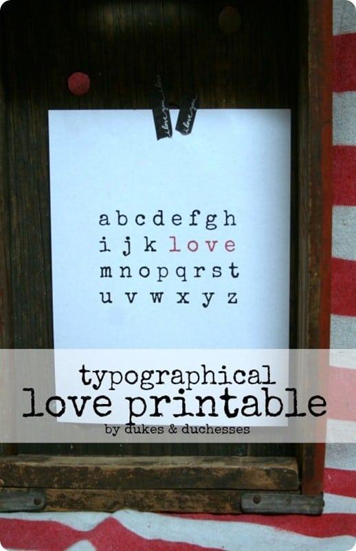 free valentine love print
