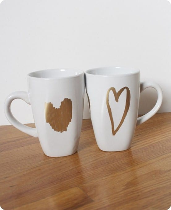 gold heart mugs