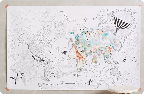 lets travel coloring mural from anthropologie