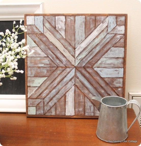pottery barn inspired wood quilt square diy wall art