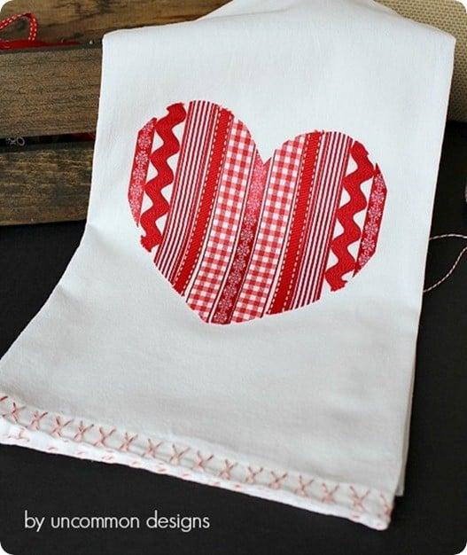 ribbon heart tea towel