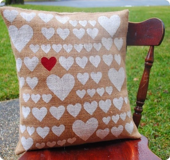 stenciled heart burlap pillow