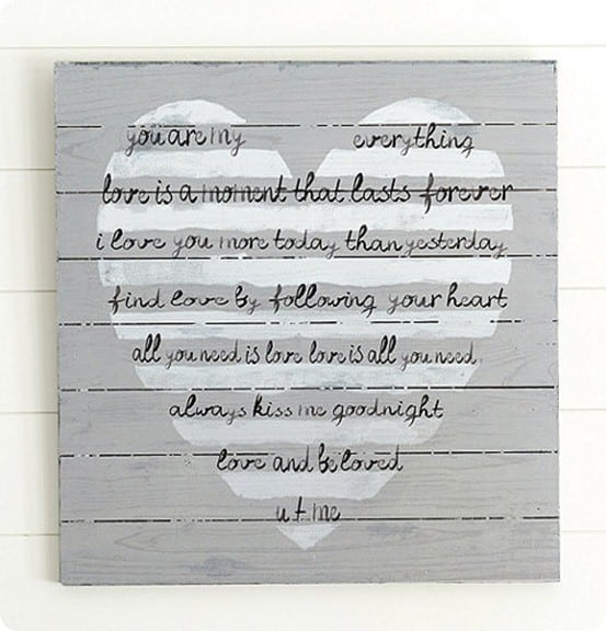 striped heart plaque