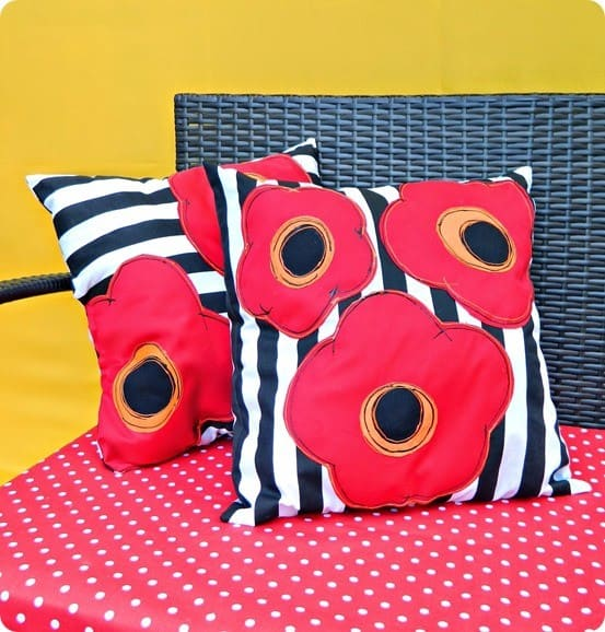 DIY Home Decor Poppy Outdoor Pillows