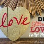 Gold Glittered Heart Pallet Art
